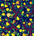 Floral seamless pattern with yellow flowers on vector image vector image