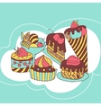frame with and sweet little cupcakes vector image