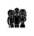 friends black icon sign on isolated vector image