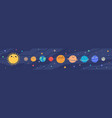 funny childish planets in row flat vector image vector image
