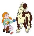 Girl grooming pony vector image