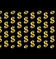 golden dollar on black background vector image
