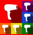hair dryer sign set of icons with flat vector image