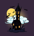 halloween old house and moon design vector image vector image