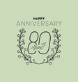 happy anniversary number eighty with wreath crown vector image