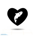 heart black icon love symbol fish in heart vector image