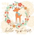 Hello my love cute card with deer vector image vector image