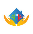 house family and hands logo vector image