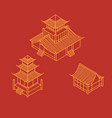 Isometric pagoda house chinese landmark vector image
