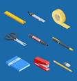 isometric stationery and office tools vector image