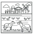 livestock animals and mill country house vector image