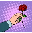 man gives flower rose vector image