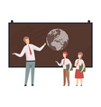 man shows the earth on blackboard to students vector image vector image