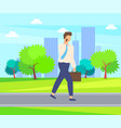 man speaking on telephone person in park vector image vector image