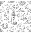 nautical doodle seamless pattern with sea vector image vector image