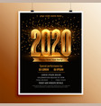 new year 2020 flyer design in black and gold vector image vector image