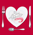 on a plate with a heart shape lies a shrimp a vector image