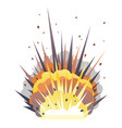 one big cartoon bomb explosion on ground vector image vector image