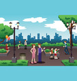 people in a city park doing everyday stuff vector image vector image