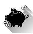 piggy bank money box silhouette black icon vector image vector image