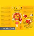 pizza menu flyer vector image vector image