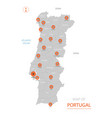 portugal map with administrative divisions vector image