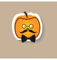 Pumpkin hipster round glasses and bow tie vector image