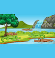 scene with many crocodiles in river vector image vector image