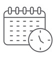 schedule thin line icon organizer and time vector image vector image