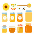 set glass containers bees wooden spoon vector image vector image