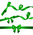 set of realistic green bow with long curled green vector image