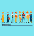 the brigade of builders in bright working clothes vector image