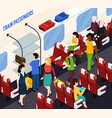 train passengers isometric composition vector image