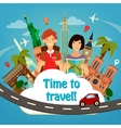 Travel Banner Happy Tourist Man with Backpack vector image vector image