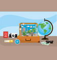 travel briefcase with global map destination vector image vector image