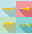 trumpet horn musical instrument icons set flat vector image