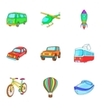 Types of transport icons set cartoon style vector image vector image