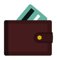 Wallet with credit cards icon flat style vector image