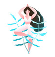 young woman in tree yoga position flat design vector image