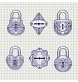 Set of hand drawn ornamental locks vector image