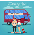 Bus Travel Active People Girl with Baggage vector image