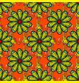 seamless flowers pattern flowers on orange black vector image