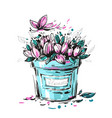a bouquet of pink flowers with butterfly vector image vector image