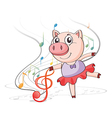 A pig dancing with musical notes vector image vector image