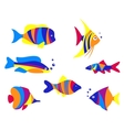 Abstract colorful aquarium fishes vector image