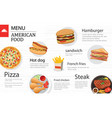 american food menu restaurant on a white wooden vector image vector image