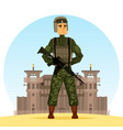army soldier with m16 gun near fort or prison vector image vector image