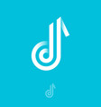 b monogram letter b like a music note consist vector image vector image