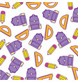 bag school with rule conveyor and pencil pattern vector image