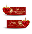 banners set for valentines day be my valentine vector image